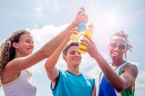 teens with sports drinks